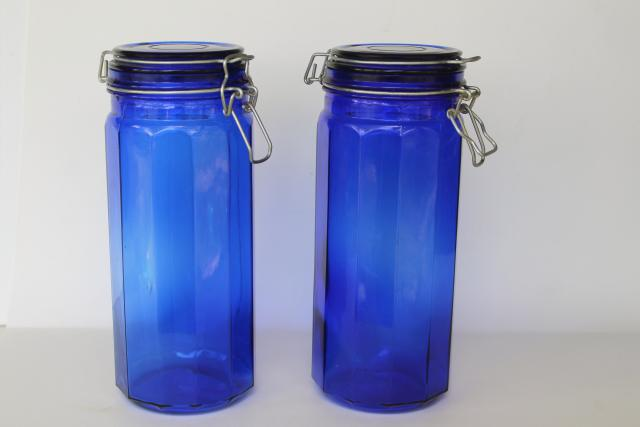 80s 90s vintage cobalt blue glass kitchen canisters, tall french canning jar style