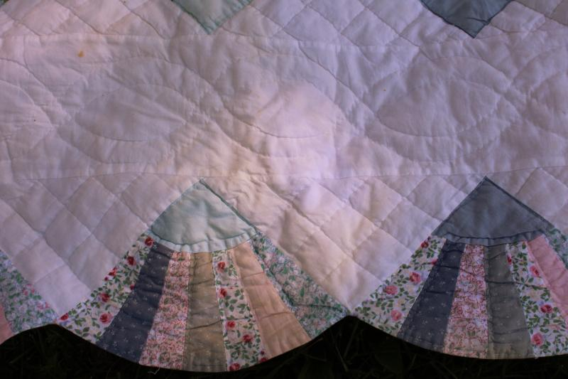 80s 90s vintage cotton quilt, country blue & pink fabrics fan pattern hand stitched