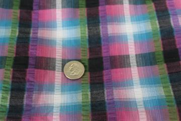 80s 90s vintage cotton seersucker fabric, plum purple olive green black plaid