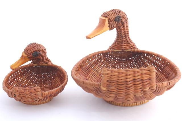 80s 90s vintage wicker basket family of ducks, duck baskets large & small