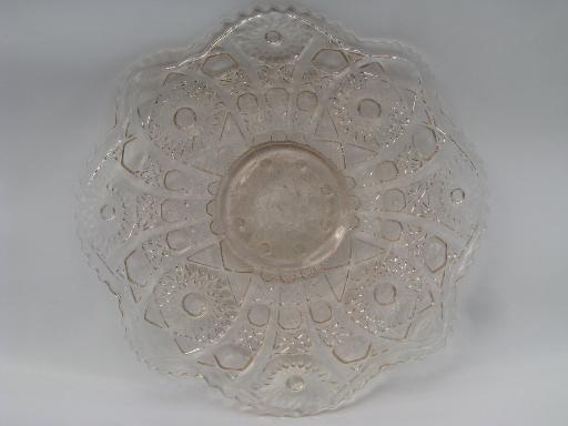 & 80s ALIG vintage Imperial cake plate w/ low foot pale pink Nucut glass