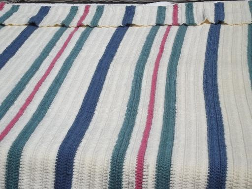 80s retro striped crochet afghan blanket, denim blue, rose and teal green
