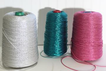 80s sparkly metallic gift wrap package tying cord, jade green, silver, pink ribbon spools