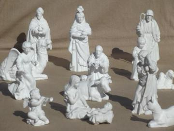 80s vintage Avon bisque china Christmas Nativity scene creche figures set