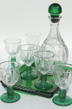 80s vintage Avon emerald accent green & clear glass decanter, glasses, tray set