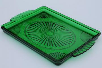 80s vintage Avon emerald green glass perfume tray or cocktail tray