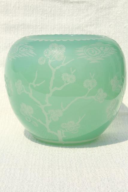 80s Vintage Chinese Glass Vase Urn Or Gourd Jar Celadon Green Glass