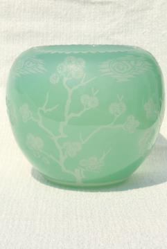 80s vintage Chinese glass vase, urn or gourd jar celadon green glass overlay carved design