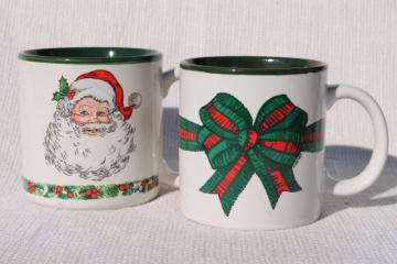 80s vintage Christmas coffee mugs w/ Santa Claus & holiday ribbon, made in Korea ceramic cups