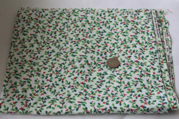 80s vintage Cranston Print Works cotton fabric Christmas holly red green tiny print on white
