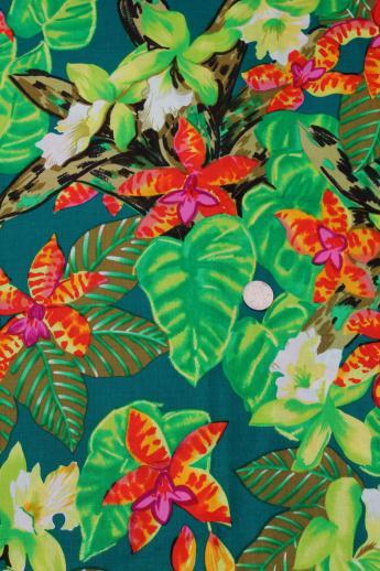 80s Vintage Hawaiian Print Cotton Fabric Tropical Print Fabric For