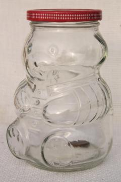 80s vintage Kraft jelly jar w/ teddy bear shape, glass jam jar coin bank