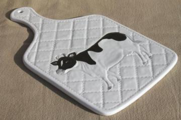 80s vintage Otagiri ceramic kitchen board w/ holstein cow, OMC label