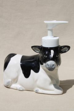 80s vintage Otagiri holstein cow liquid hand pump soap dispenser for country kitchen sink