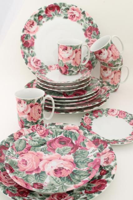 80s Vintage Portugal Ceramic Dinnerware Set Block China