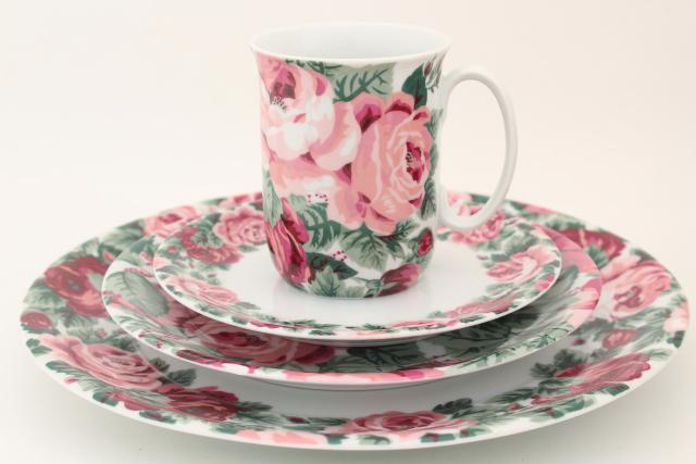80s vintage Portugal ceramic dinnerware set Block china Rose Garden pink floral : dinnerware from portugal - pezcame.com