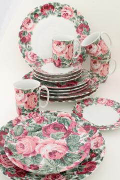 80s vintage Portugal ceramic dinnerware set, Block china Rose Garden pink floral