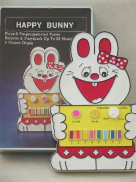 80s vintage Taiwan plastic Happy Bunny piano keys battery operated music toy