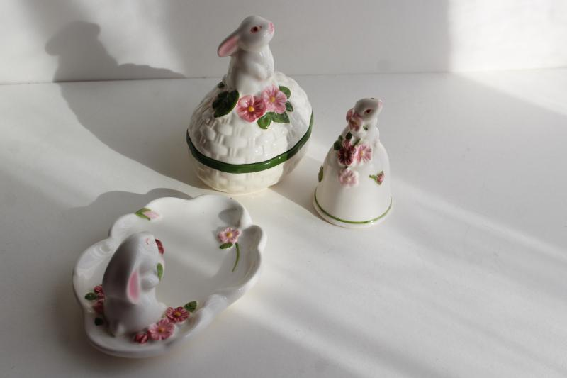 80s vintage Weiss Brazil for Avon Easter egg, bunnies pin tray, china bell