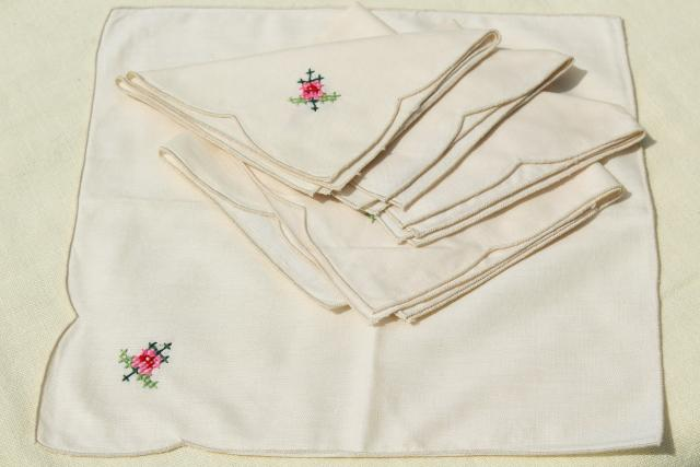 80s vintage applique cotton lace tablecloth & napkins, mint w/ original Chinese label