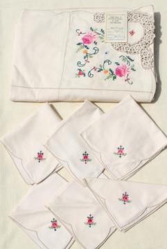 80s vintage applique cotton lace tablecloth & napkins, mint w/ original Chinese label