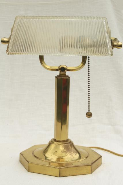 80s Vintage Brass Bankers Lamp Desk Light W Clear Ribbed