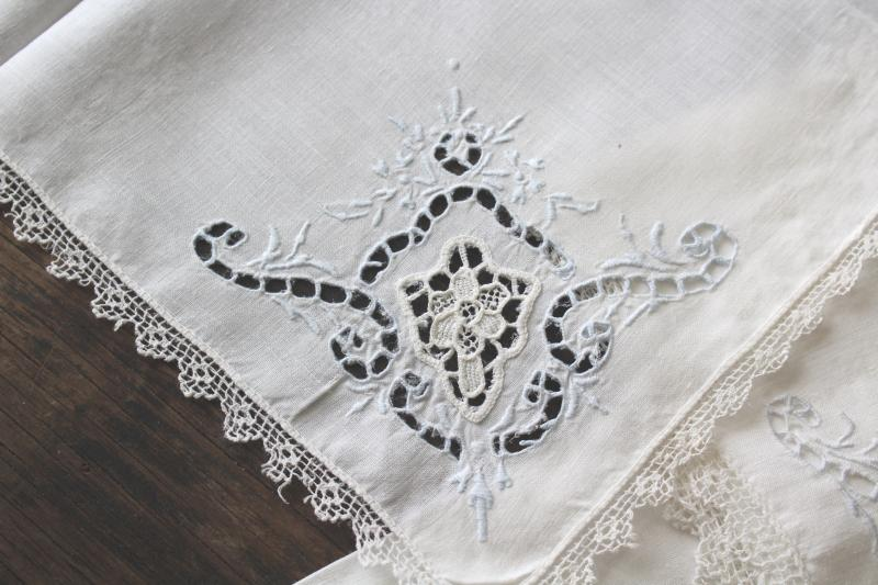 80s vintage cutwork embroidery table linens, cotton place mats & napkins set of 6