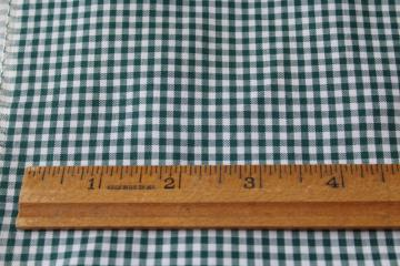 80s vintage fabric, cotton / poly gingham pine green & white mini checks