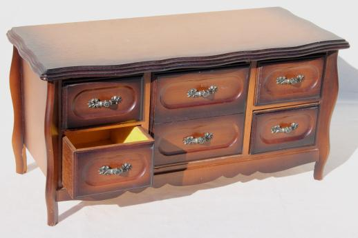 80s vintage jewelry box chest of drawers velvet lined dresser box