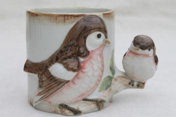 80s vintage mug w/ mother robin & baby bird, figural coffee cup Takahaski Japan