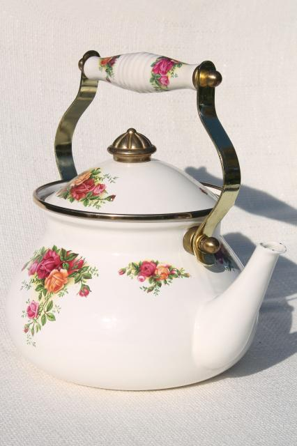 80s vintage porcelain enamel metal tea kettle, Old Country Roses Royal Albert china go-along