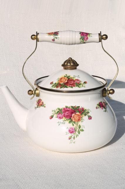 80s Vintage Porcelain Enamel Metal Tea Kettle Old Country