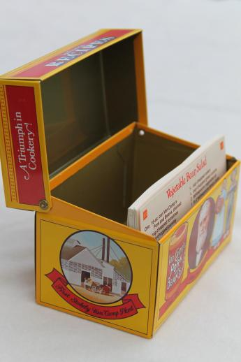 80s vintage recipe card box, Van Camp's beans advertising tin card file for recipes