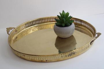 80s vintage solid brass serving tray, round cocktail tray barware drinks