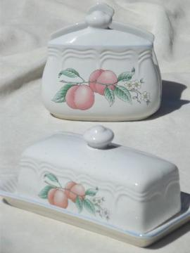 80s vintage stoneware butter dish & napkin holder, peach orchard fruit