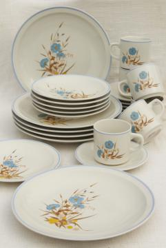80s vintage stoneware pottery dinnerware, Ming Pao china w/ blue & yellow flowers