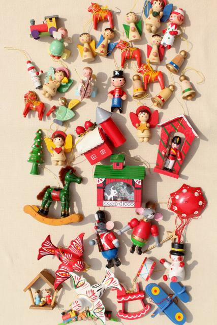 80s vintage tiny wood Christmas ornaments, tree decorations from Taiwan,  China, Sweden - 80s Vintage Tiny Wood Christmas Ornaments, Tree Decorations From