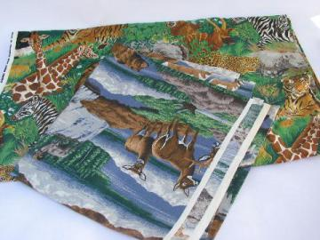 80s wildlife print cotton fabric, African safari animals, American wolves & bears