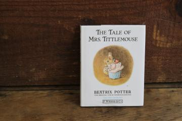90s vintage Beatrix Potter Mrs Tittlemouse little green book w/ dust jacket