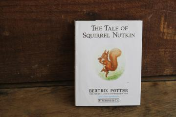 90s vintage Beatrix Potter Squirrel Nutkin little green book w/ dust jacket
