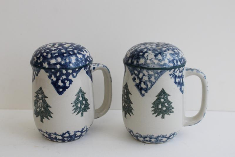 90s vintage Cabin in the Snow Folk Craft S&P set, large salt and pepper shakers