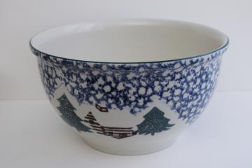 90s vintage Cabin in the Snow Folk Craft sponge ware stoneware bowl, big mixing bowl