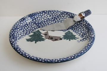90s vintage Cabin in the Snow Folkcraft sponge ware stoneware cake plate w/ server