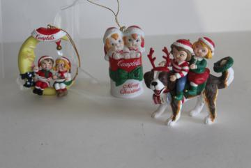90s vintage Campbell's Soup Christmas ornaments, kids in soup can, St Bernard dog
