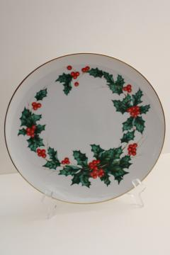 90s vintage Lefton Japan Christmas boughs of green & red holly china plate
