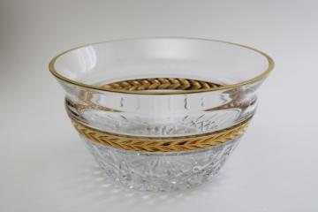 90s vintage Lenox heavy crystal glass bowl, Majestic gold laurel band