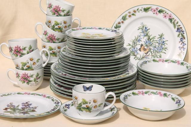 90s vintage Royal Worcester Herbs botanical pattern china dinnerware set for 8 : pattern dinnerware - pezcame.com