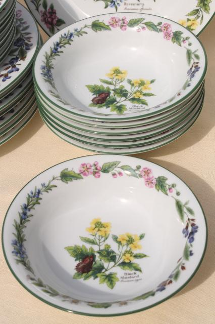 90s vintage Royal Worcester Herbs botanical pattern china dinnerware set for 8 & 90s vintage Royal Worcester Herbs botanical pattern china dinnerware ...