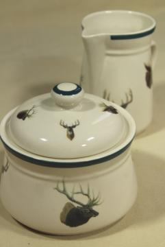 90s vintage Wild Wings big game elk deer pattern cream pitcher & sugar bowl set