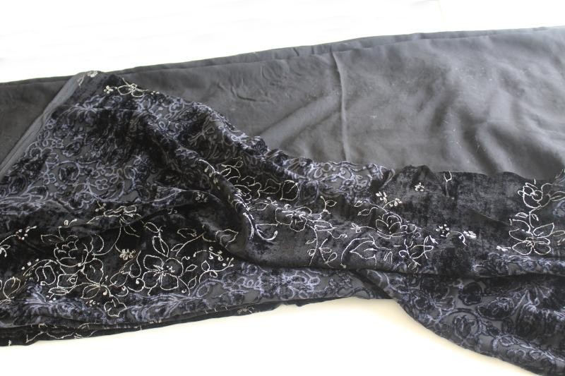 90s vintage fabric, stretch black velvet w/ sheer burnout, silver embroidery